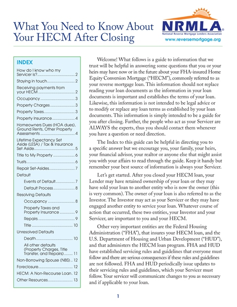 What You Need to Know About Your HECM After Closing