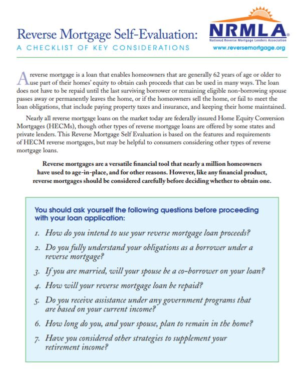 Reverse Mortgage Self Evaluation