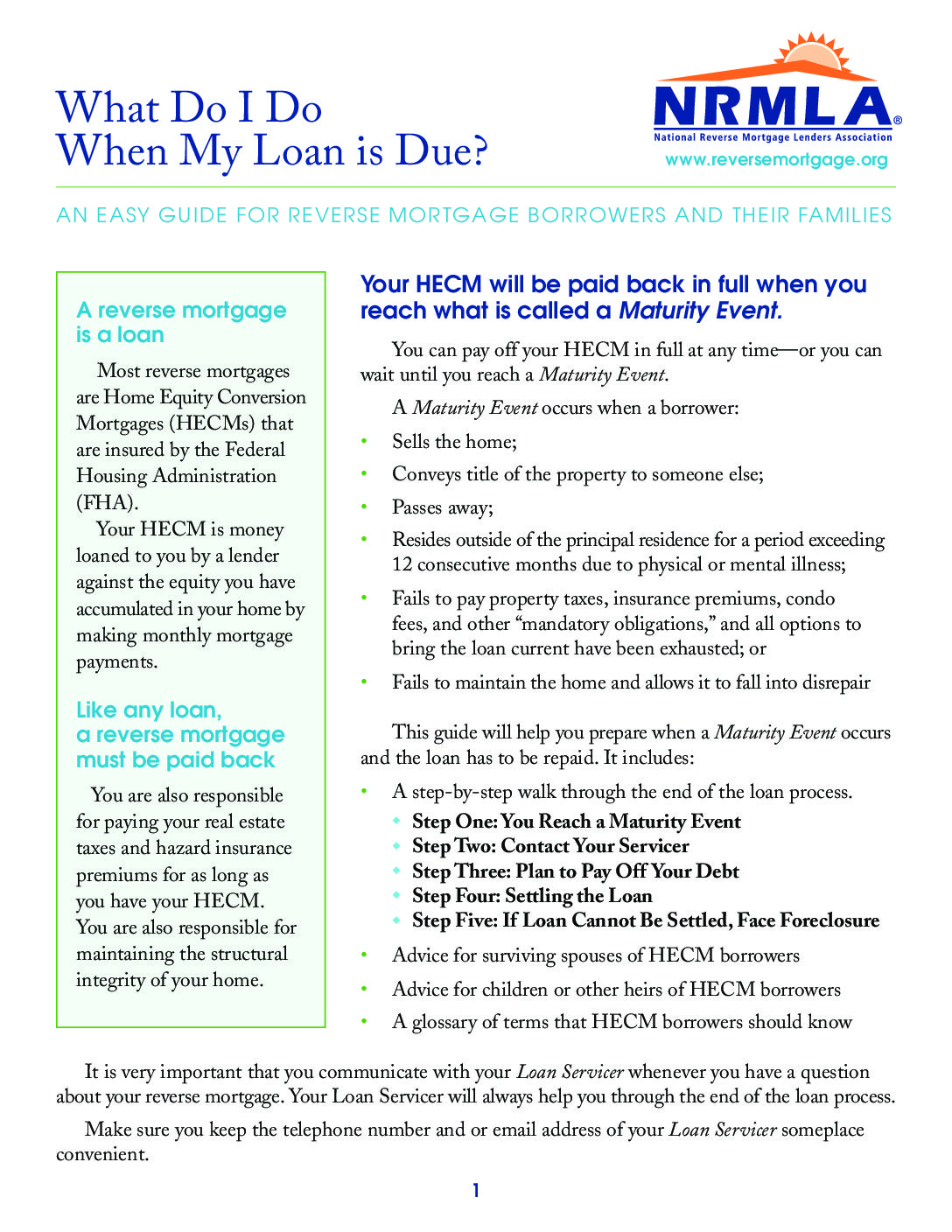 What Do I Do When My Loan Is Due Reverse Mortgage